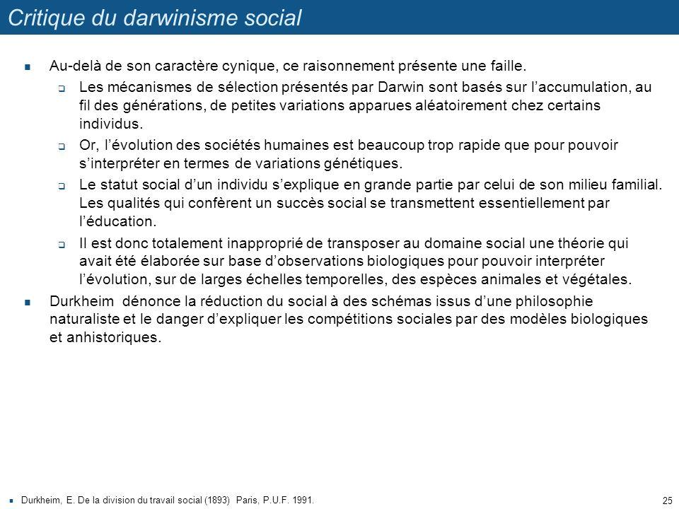 Critique du darwinisme social