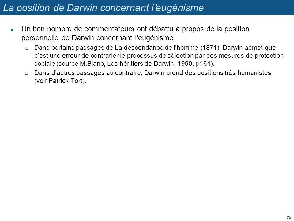 La position de Darwin concernant l'eugénisme