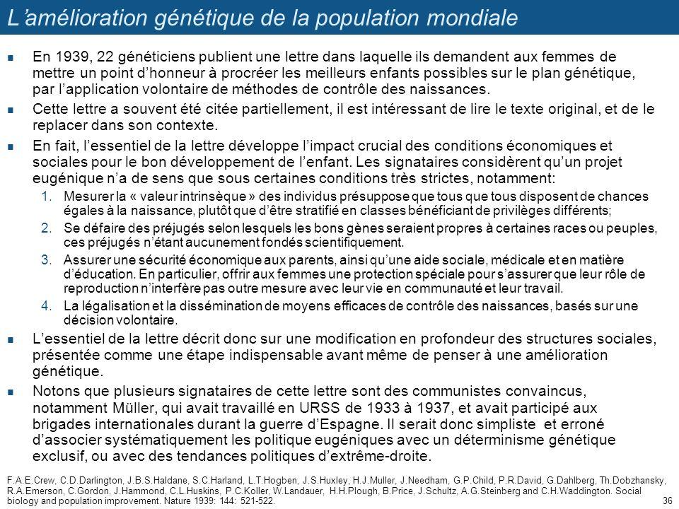 L'amélioration génétique de la population mondiale