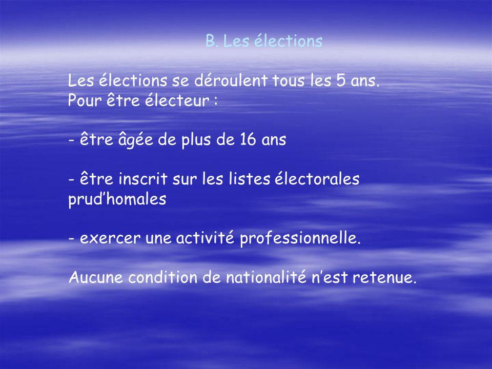 Les élections Les élections se déroulent tous les 5 ans. Pour être électeur : - être âgée de plus de 16 ans.