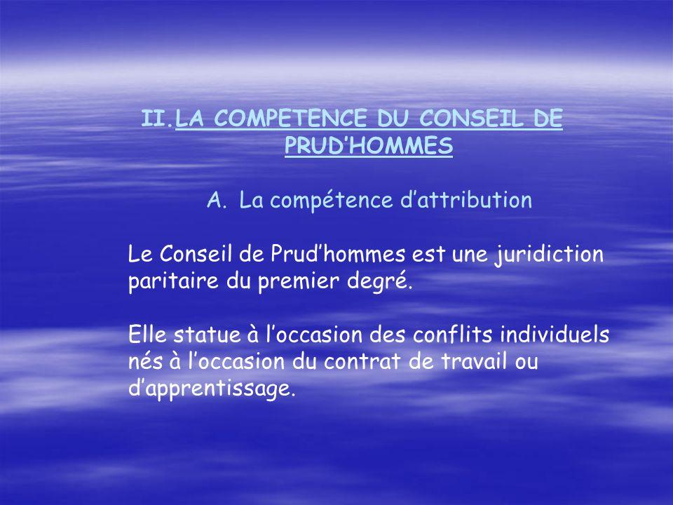 LA COMPETENCE DU CONSEIL DE PRUD'HOMMES