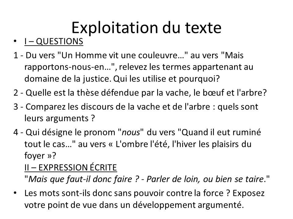 Exploitation du texte I – QUESTIONS
