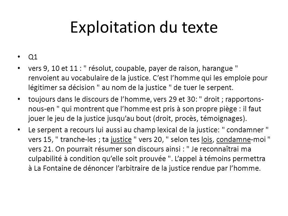 Exploitation du texte Q1