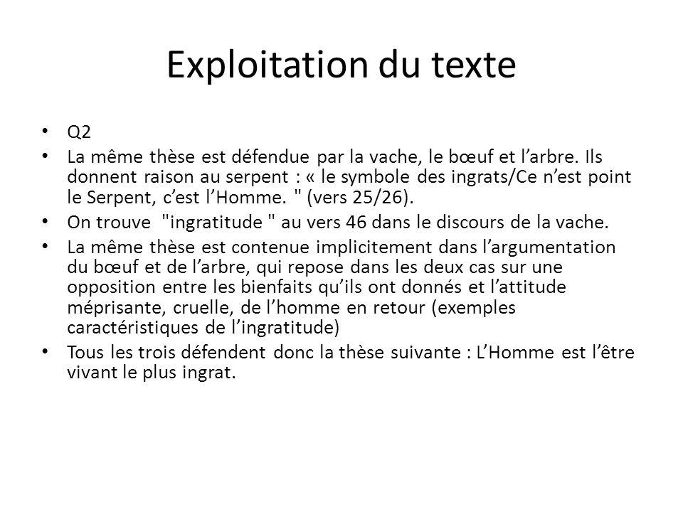 Exploitation du texte Q2