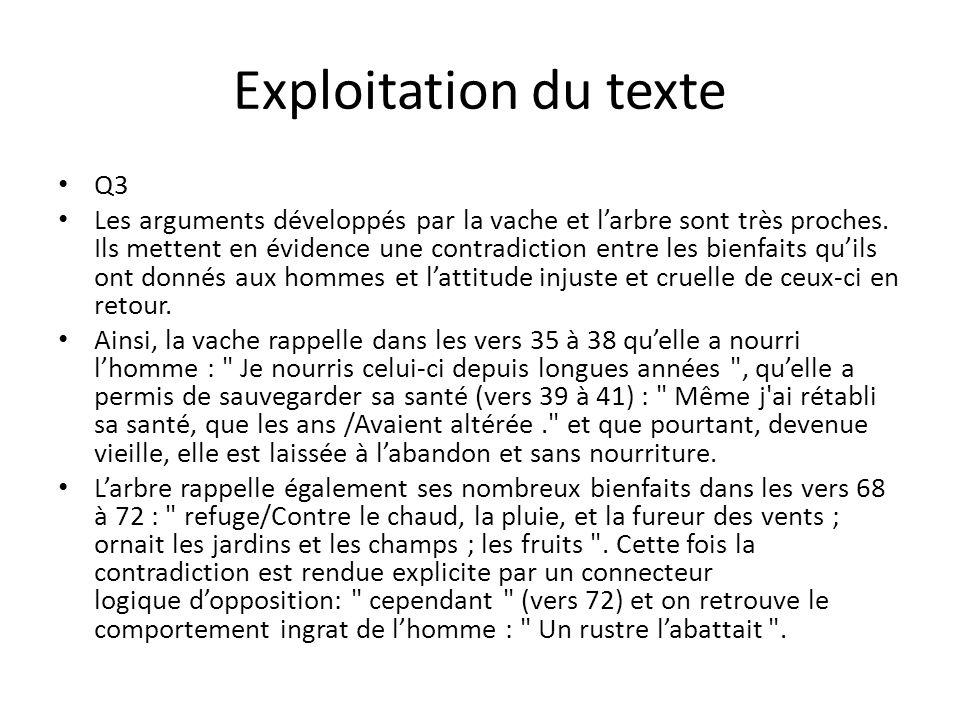 Exploitation du texte Q3