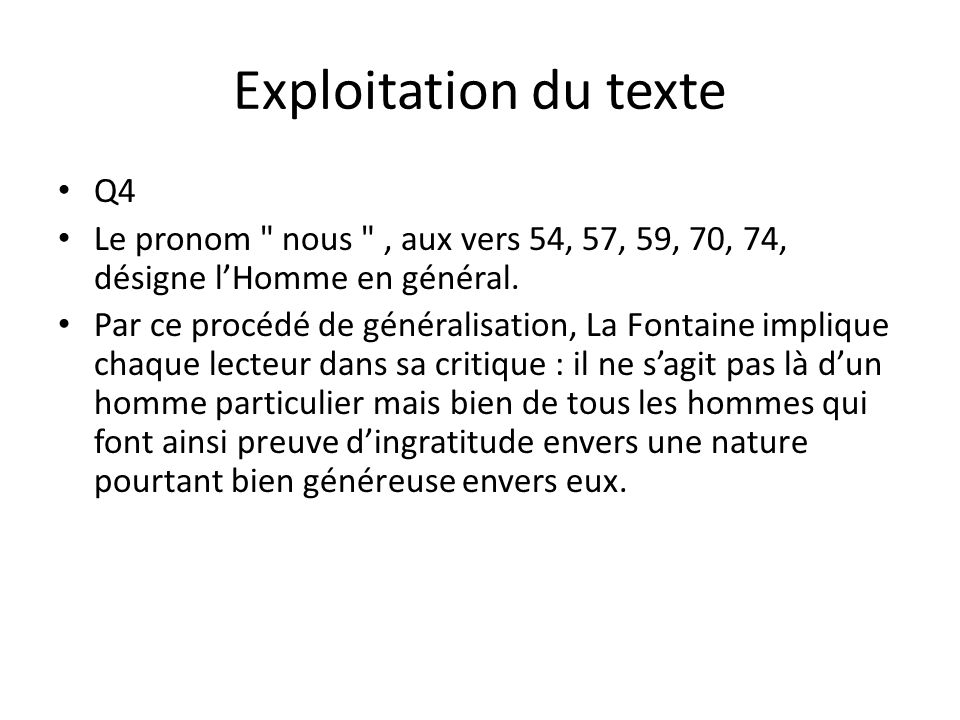 Exploitation du texte Q4
