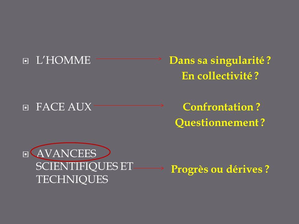 L'HOMME FACE AUX. AVANCEES SCIENTIFIQUES ET TECHNIQUES. Dans sa singularité En collectivité Confrontation