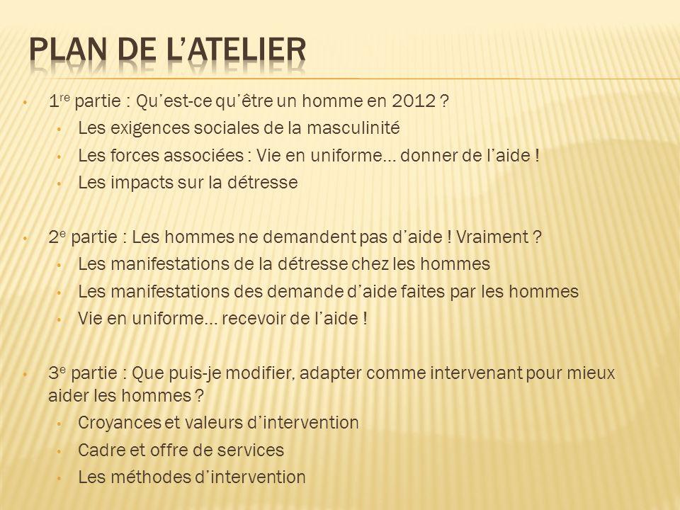 Plan de l'atelier 1re partie : Qu'est-ce qu'être un homme en 2012