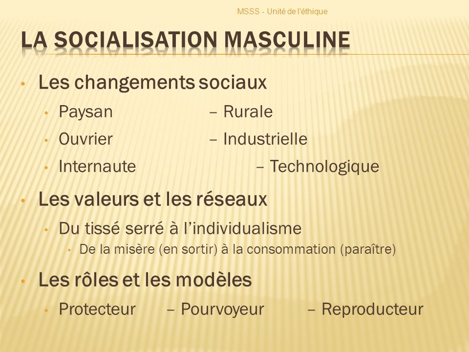 La socialisation masculine