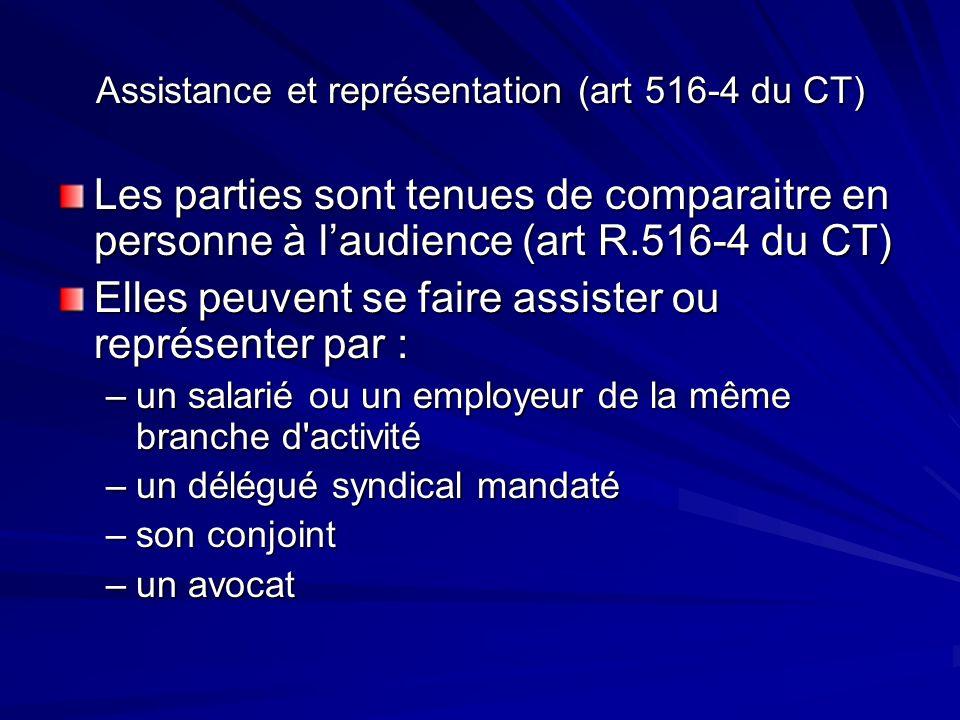 Assistance et représentation (art 516-4 du CT)