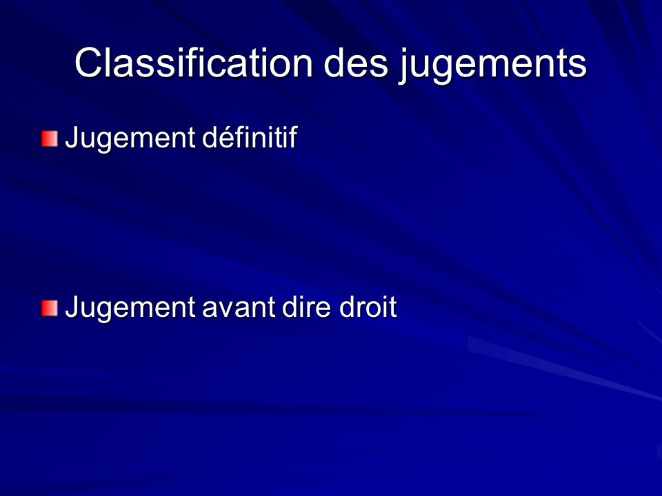 Classification des jugements