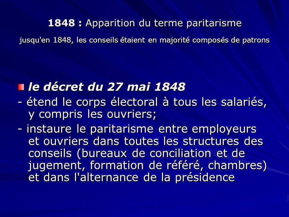 1848 : Apparition du terme paritarisme jusqu en 1848, les conseils étaient en majorité composés de patrons