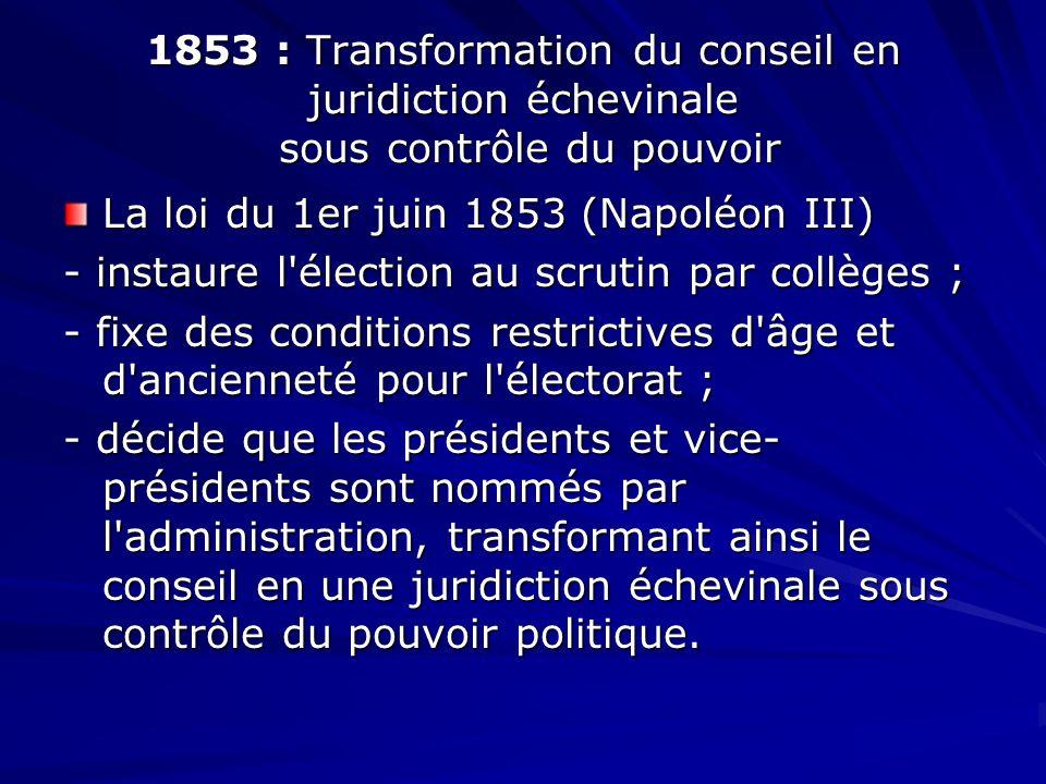 1853 : Transformation du conseil en juridiction échevinale sous contrôle du pouvoir