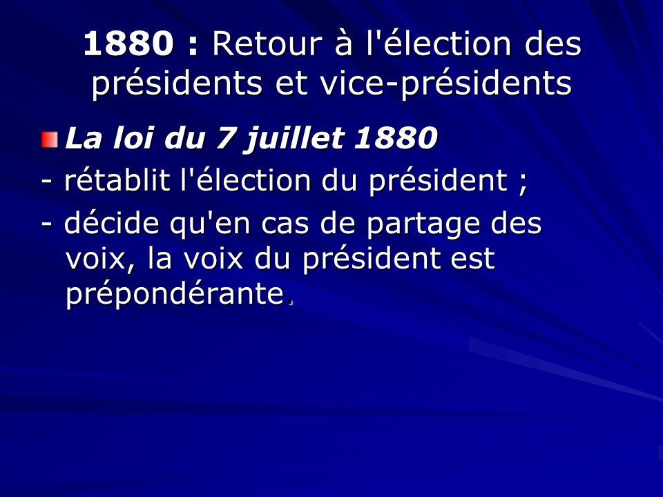 1880 : Retour à l élection des présidents et vice-présidents