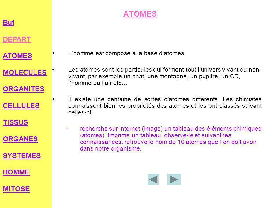 ATOMES L'homme est composé à la base d'atomes.