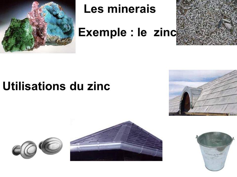 Les minerais Exemple : le zinc Utilisations du zinc