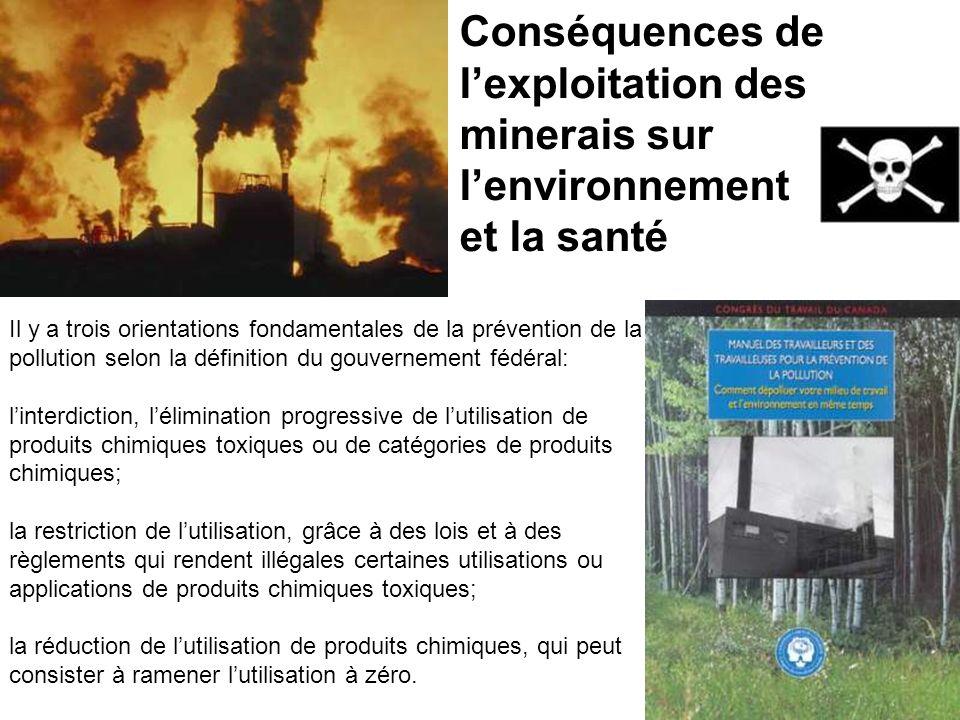 Conséquences de l'exploitation des minerais sur l'environnement et la santé