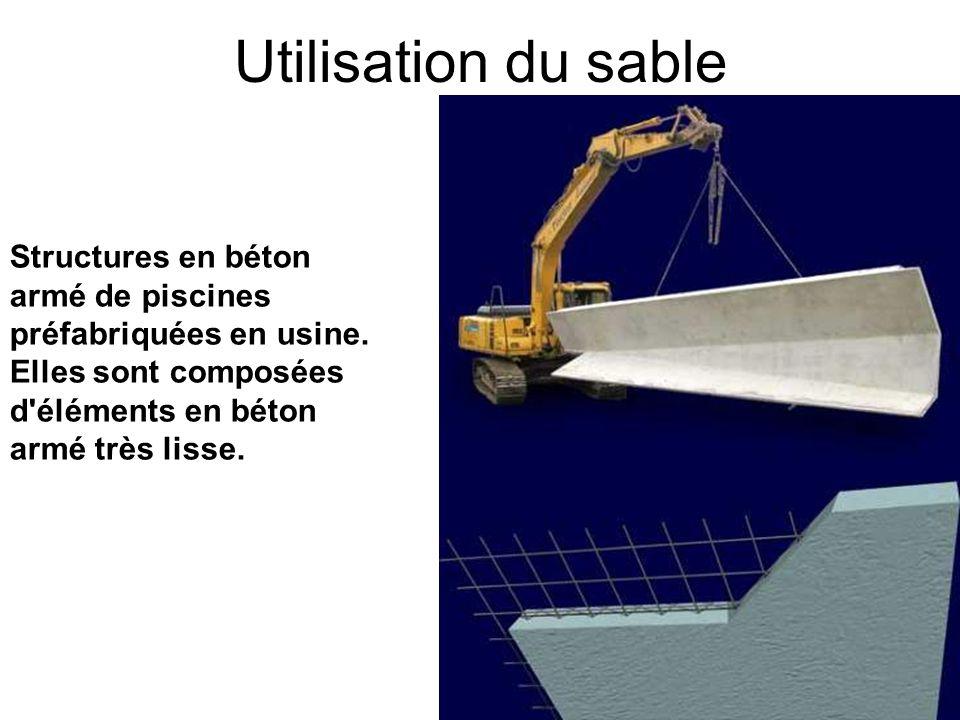 Utilisation du sable Structures en béton armé de piscines préfabriquées en usine.