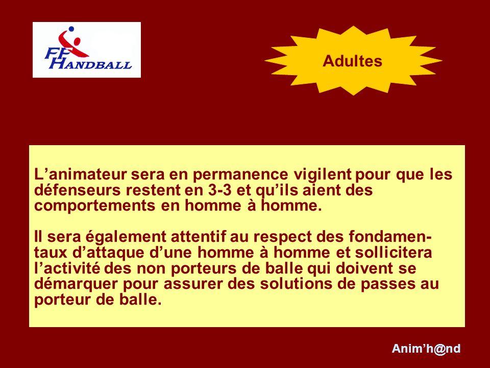 Adultes L'animateur sera en permanence vigilent pour que les défenseurs restent en 3-3 et qu'ils aient des comportements en homme à homme.