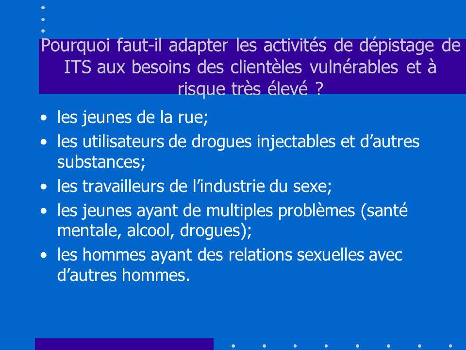 Pourquoi faut-il adapter les activités de dépistage de ITS aux besoins des clientèles vulnérables et à risque très élevé
