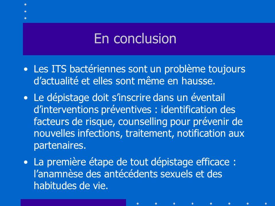 En conclusion Les ITS bactériennes sont un problème toujours d'actualité et elles sont même en hausse.