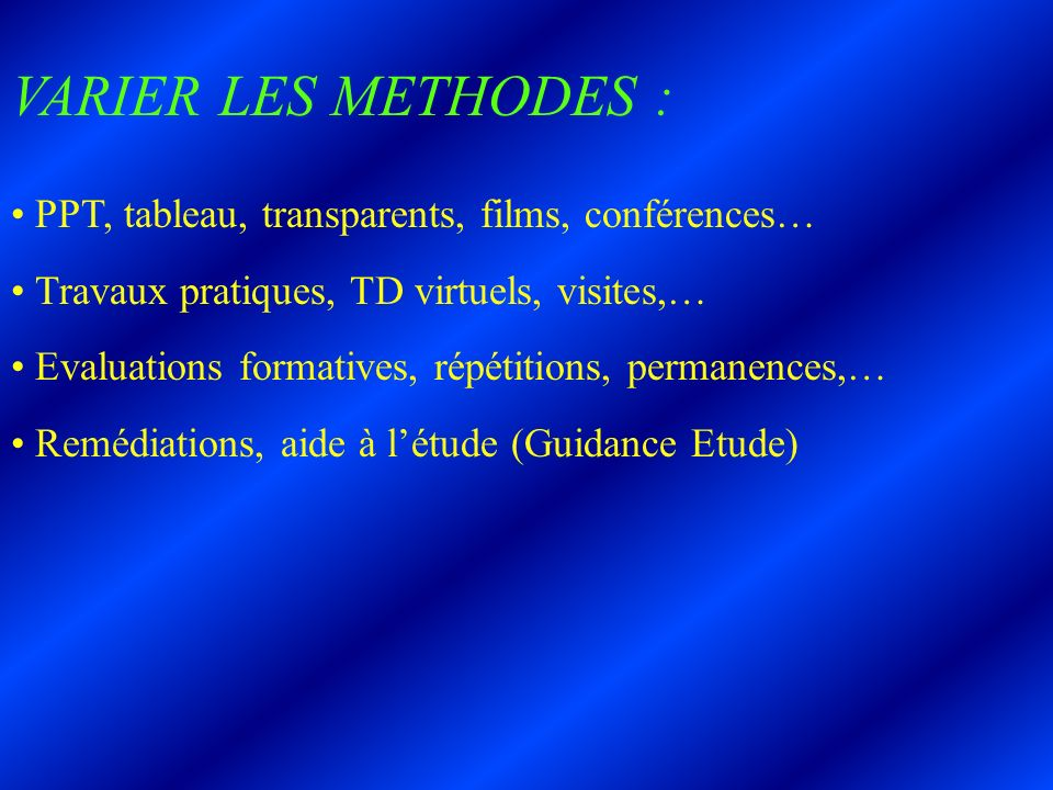 VARIER LES METHODES : PPT, tableau, transparents, films, conférences…