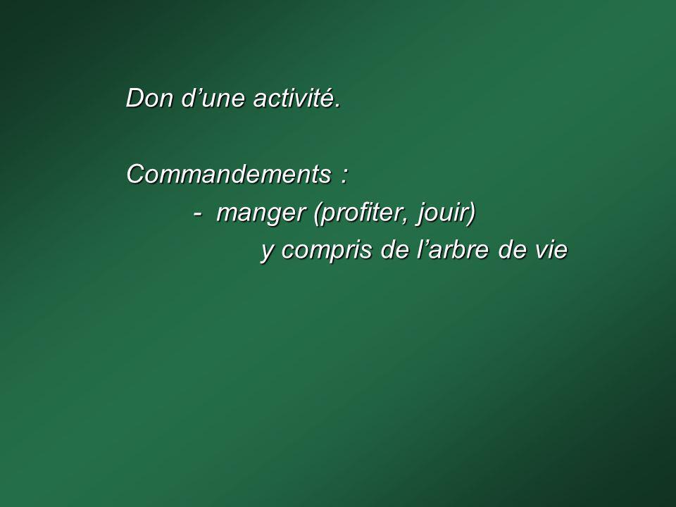 Don d'une activité. Commandements : - manger (profiter, jouir) y compris de l'arbre de vie