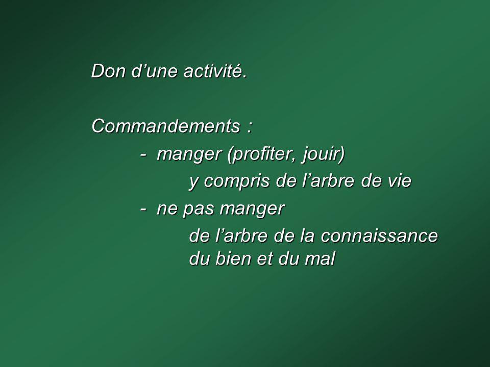Don d'une activité. Commandements : - manger (profiter, jouir) y compris de l'arbre de vie. - ne pas manger.
