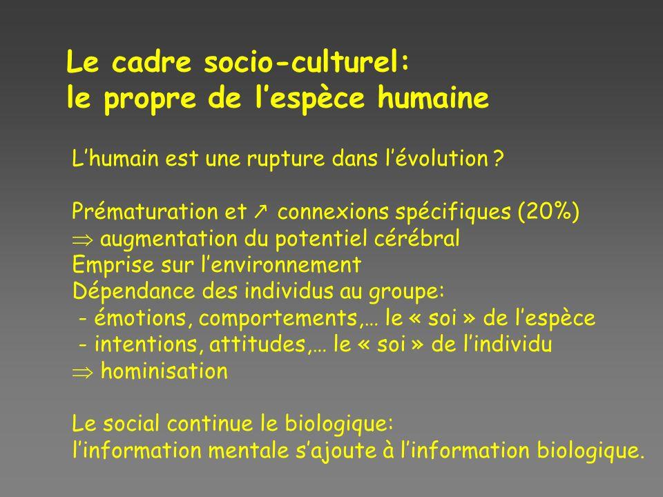 Le cadre socio-culturel: le propre de l'espèce humaine