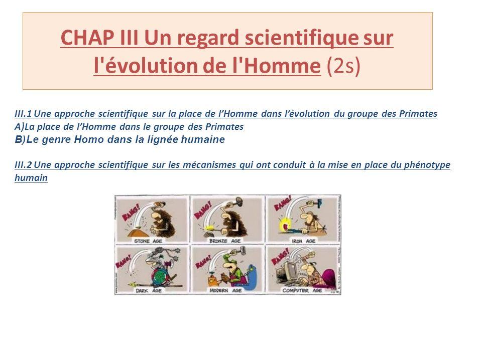 CHAP III Un regard scientifique sur l évolution de l Homme (2s)