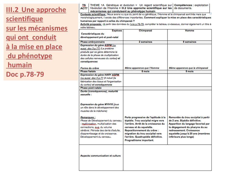 III.2 Une approche scientifique. sur les mécanismes. qui ont conduit. à la mise en place. du phénotype.