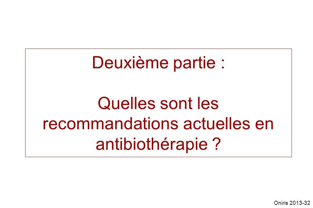 Deuxième partie : Quelles sont les recommandations actuelles en antibiothérapie