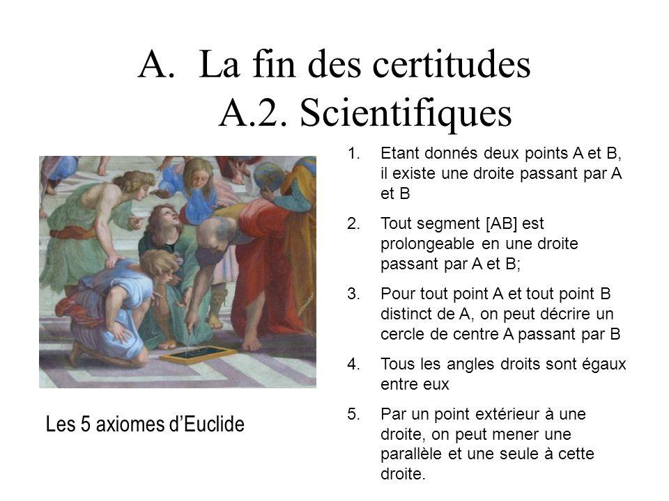 La fin des certitudes A.2. Scientifiques