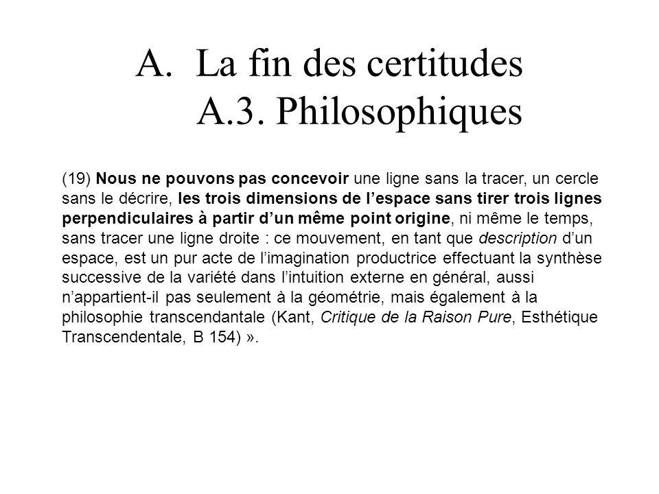 La fin des certitudes A.3. Philosophiques