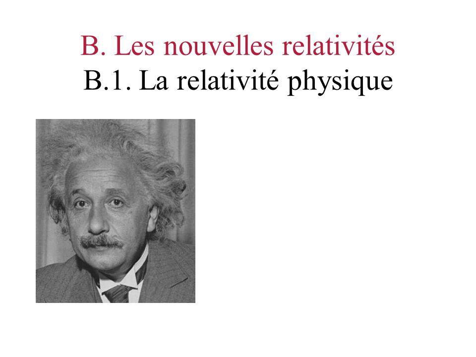B. Les nouvelles relativités B.1. La relativité physique