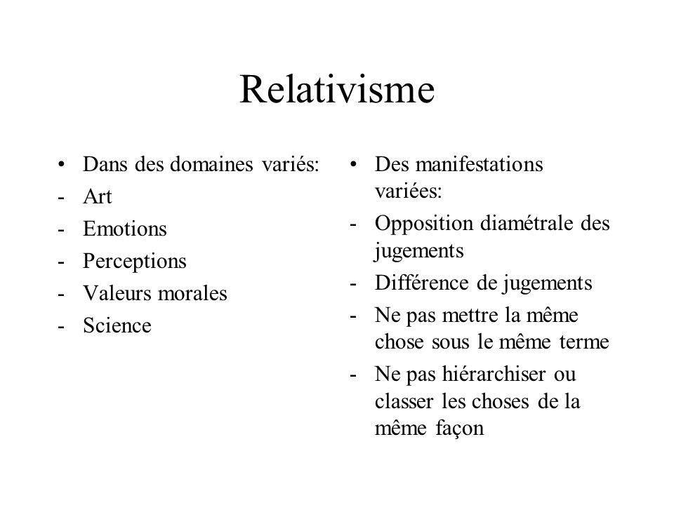 Relativisme Dans des domaines variés: Art Emotions Perceptions