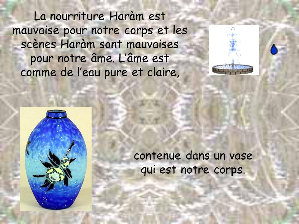 La nourriture Haràm est mauvaise pour notre corps et les scènes Haràm sont mauvaises pour notre âme. L'âme est comme de l'eau pure et claire,