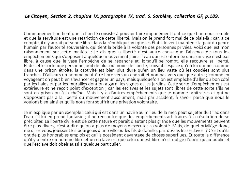 Le Citoyen, Section 2, chapitre IX, paragraphe IX, trad. S