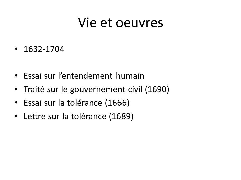 Vie et oeuvres 1632-1704 Essai sur l'entendement humain