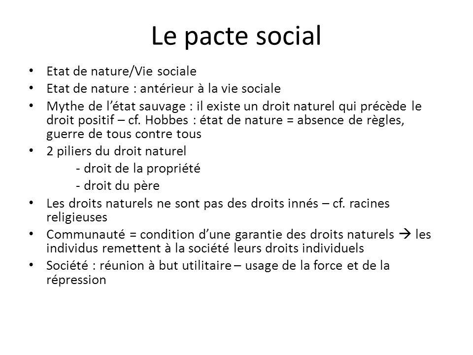 Le pacte social Etat de nature/Vie sociale