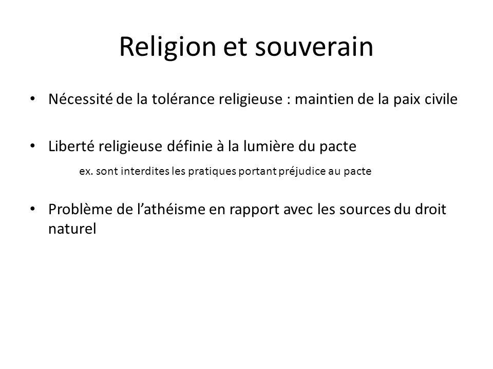 Religion et souverain Nécessité de la tolérance religieuse : maintien de la paix civile. Liberté religieuse définie à la lumière du pacte.