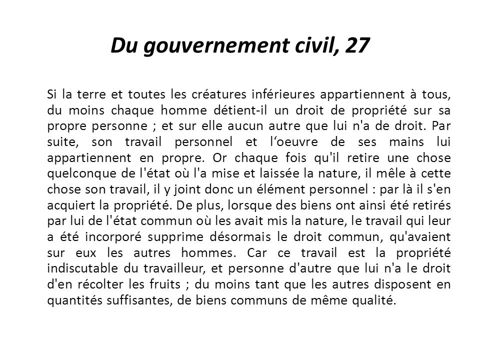 Du gouvernement civil, 27
