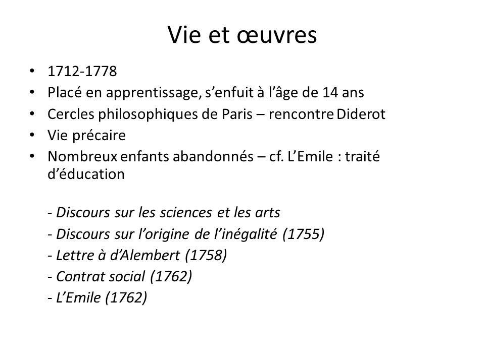 Vie et œuvres 1712-1778. Placé en apprentissage, s'enfuit à l'âge de 14 ans. Cercles philosophiques de Paris – rencontre Diderot.