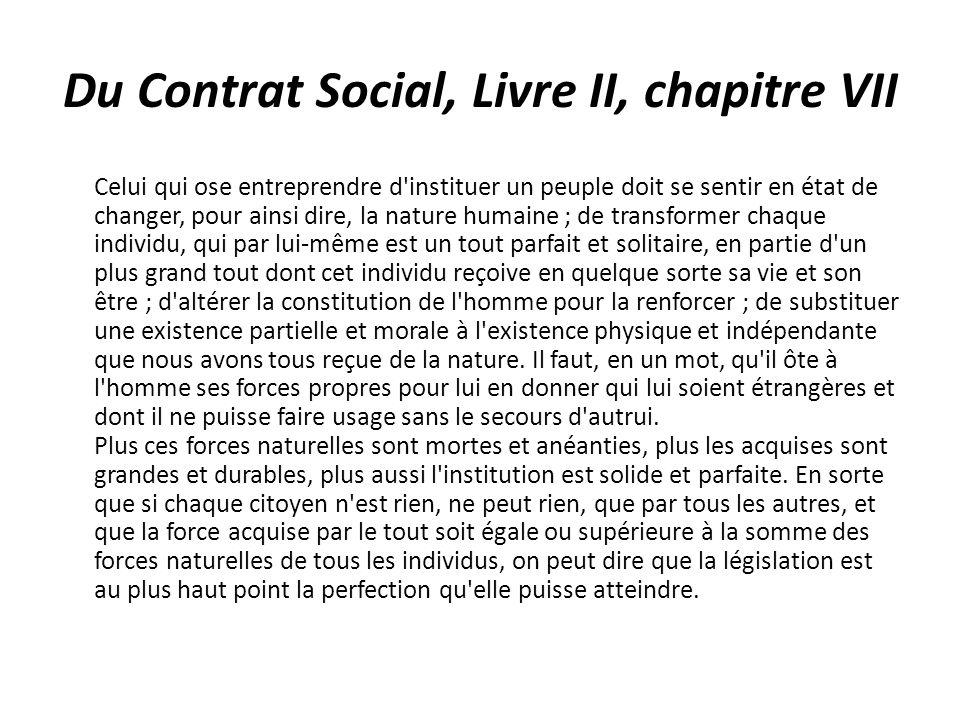 Du Contrat Social, Livre II, chapitre VII