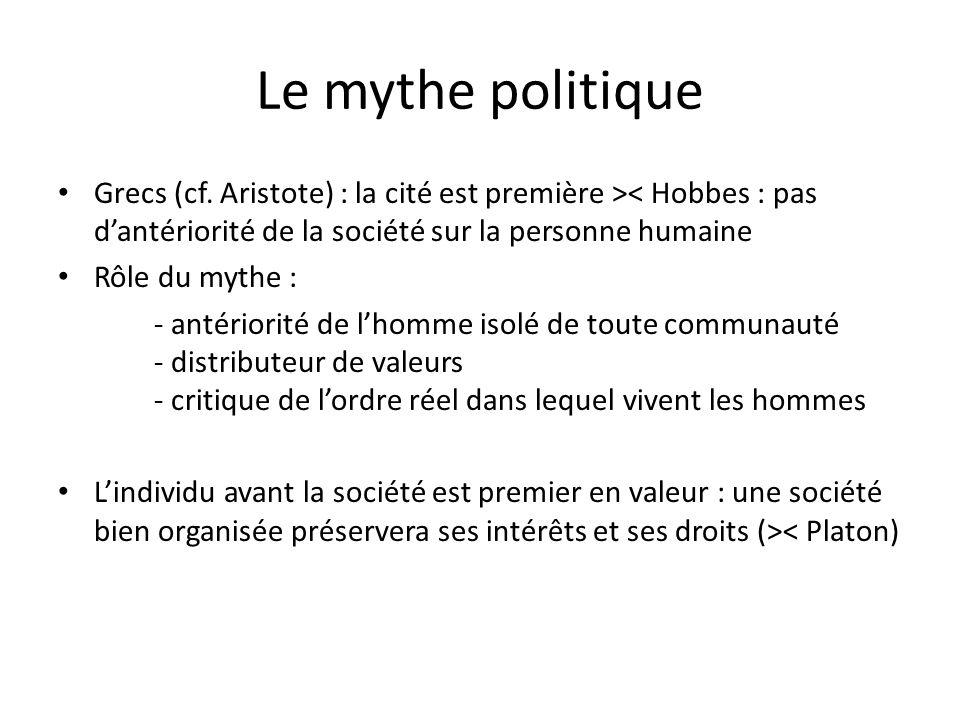 Le mythe politique Grecs (cf. Aristote) : la cité est première >< Hobbes : pas d'antériorité de la société sur la personne humaine.