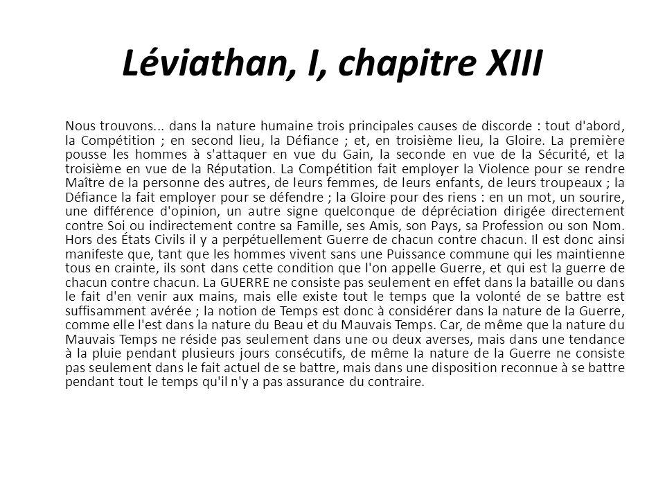 Léviathan, I, chapitre XIII