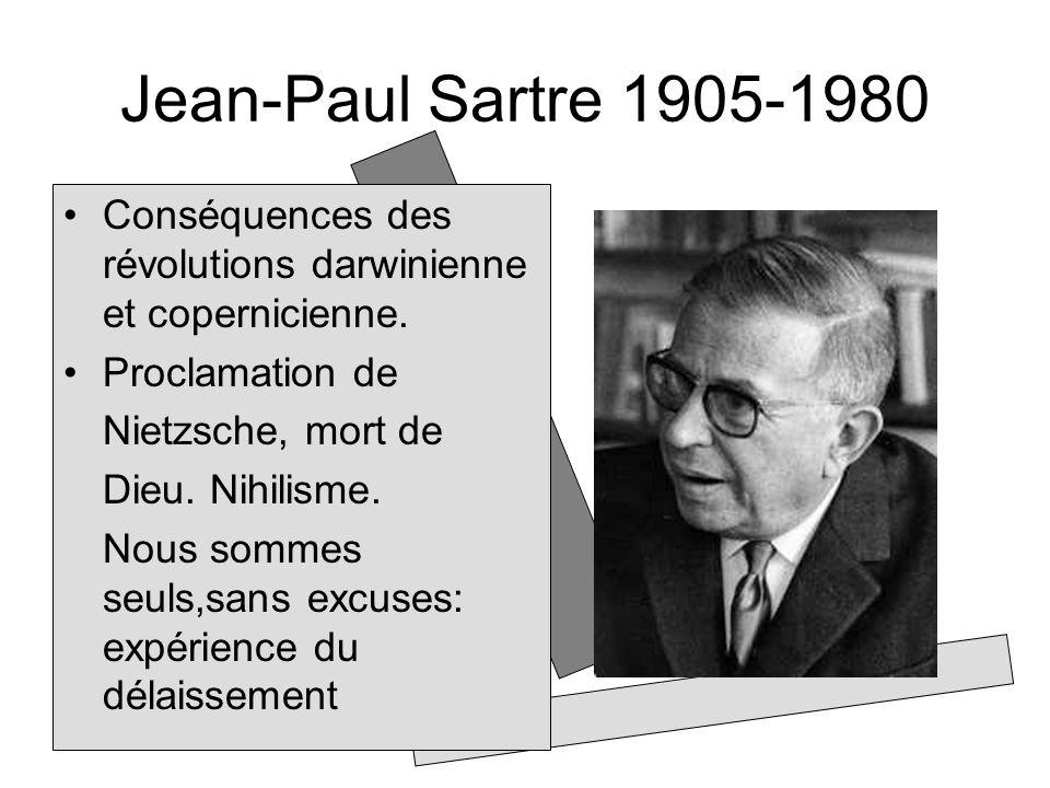 Jean-Paul Sartre 1905-1980 Conséquences des révolutions darwinienne et copernicienne. Proclamation de.