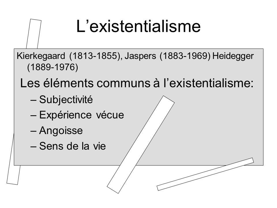 L'existentialisme Les éléments communs à l'existentialisme: