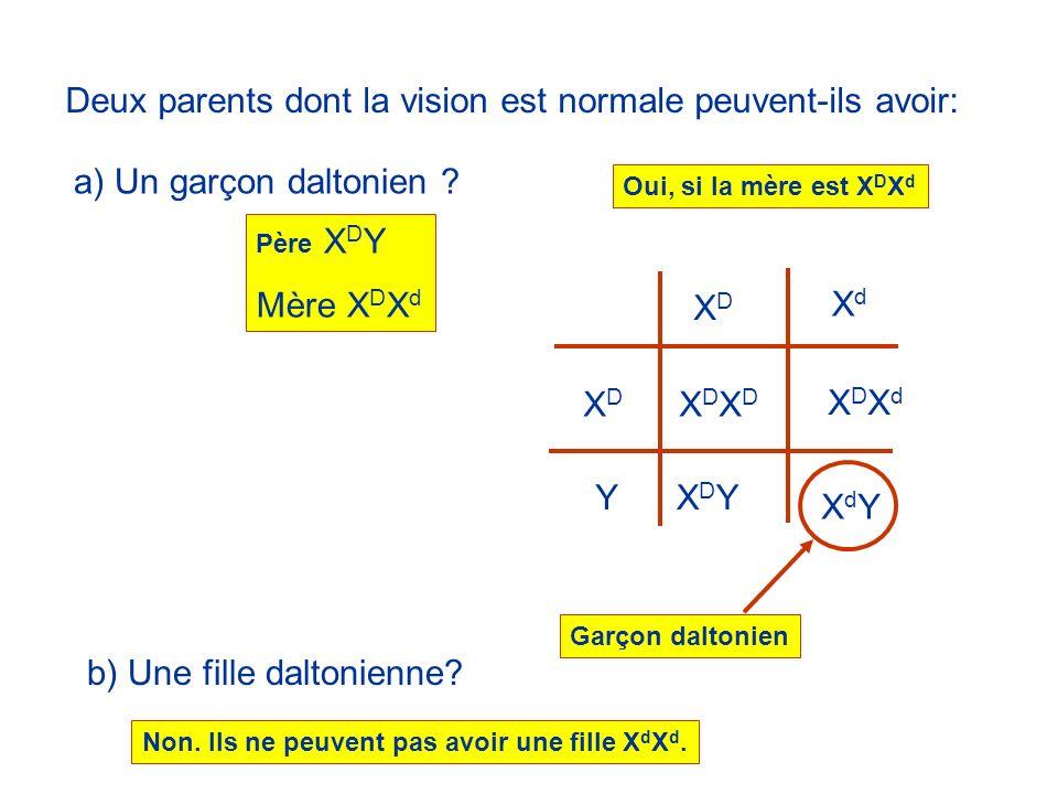 Deux parents dont la vision est normale peuvent-ils avoir: