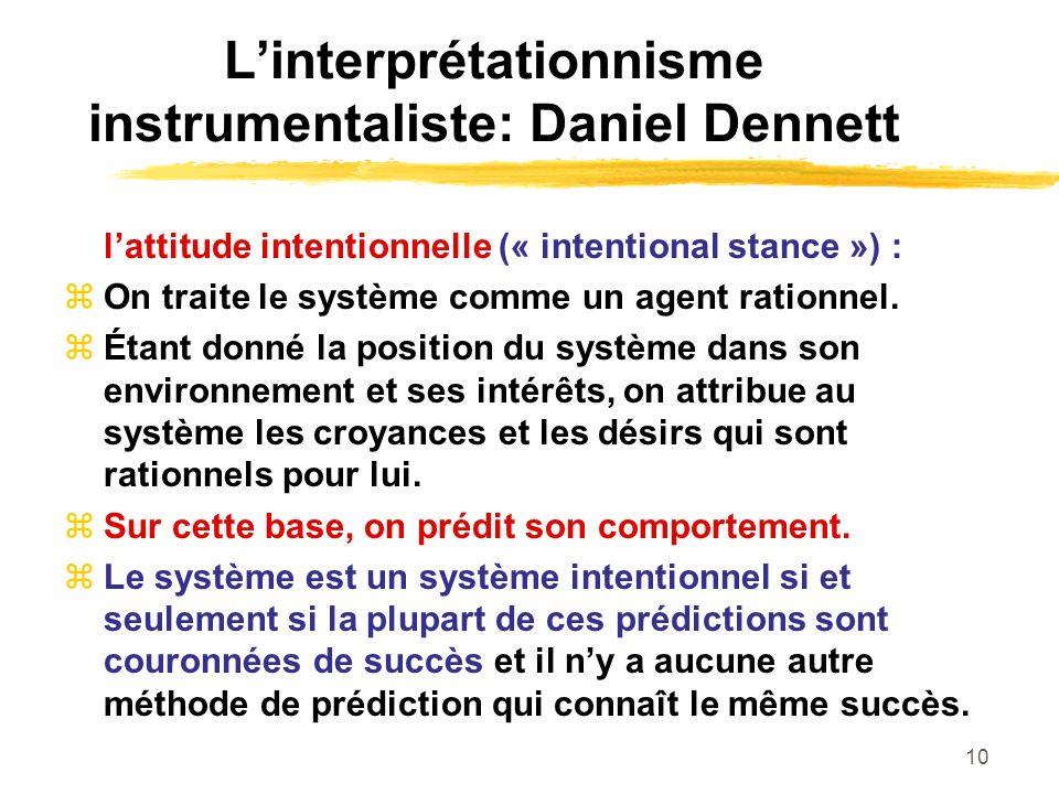 L'interprétationnisme instrumentaliste: Daniel Dennett